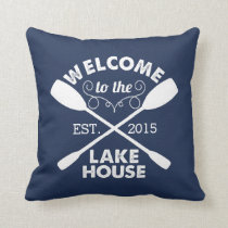 Welcome to the Lake House | Rustic Navy Throw Pillow