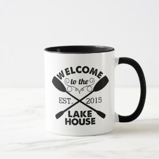 Welcome to the Lake House Rustic Paddles Mug
