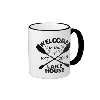 Welcome to the Lake House Rustic Paddles Ringer Coffee Mug