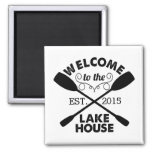 Welcome to the Lake House | Rustic Personalized 2 Inch Square Magnet