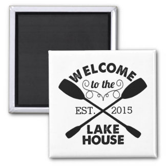 Welcome to the Lake House | Rustic Personalized Magnet
