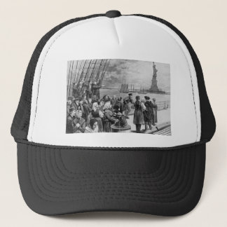 Welcome to the Land of Freedom from Ellis Island Trucker Hat