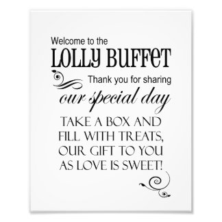 Welcome to the Lolly Buffet Wedding Sign - Box Photo Print