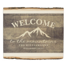 Welcome to the Mountains Rustic Personalized Name Wood Panel