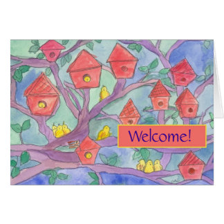 Welcome to the Neighborhood Red Bird House Card