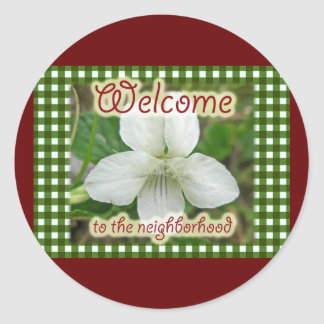 Welcome to the Neighborhood White Violet Classic Round Sticker