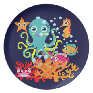 Welcome to the Ocean Melamine Plate