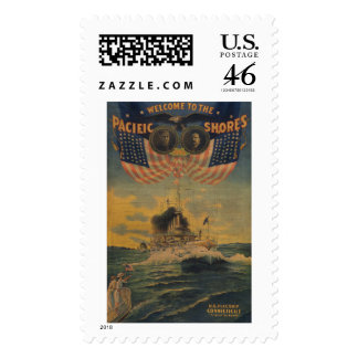 Welcome to the Pacific Shores. Flagship Connecticu Postage Stamp