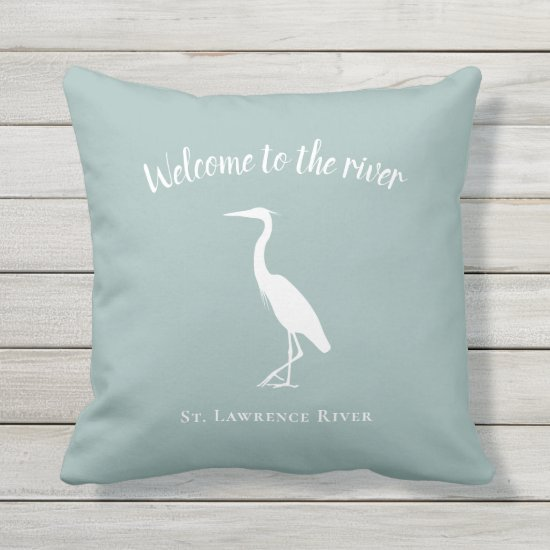 Welcome to the river heron regional locale decor outdoor pillow