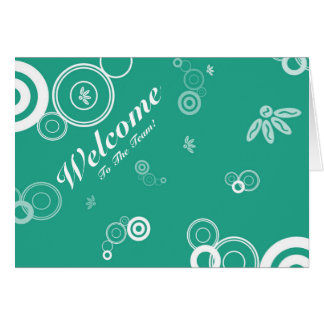 Welcome To The Team Green Floral Postcard