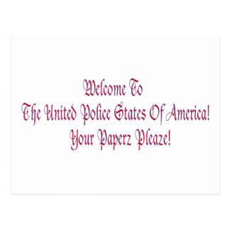 Welcome to the United Police States of America Postcard