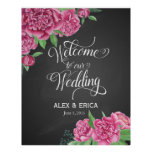 welcome to the wedding peony rose sign chalkboard poster