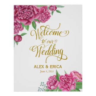 welcome to the wedding peony rose sign pink gold