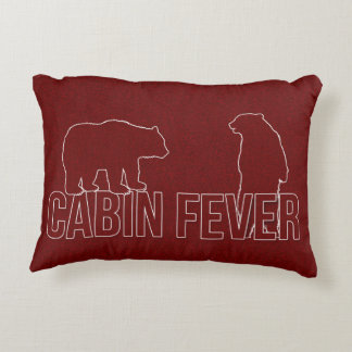 Welcome to the Woods Cabin Fever Red Bears Decorative Pillow