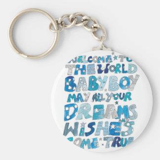 Welcome To The World Baby Boy Basic Round Button Keychain