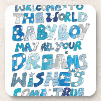 Welcome To The World Baby Boy Coaster