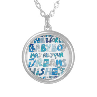 Welcome To The World Baby Boy Round Pendant Necklace
