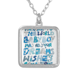 Welcome To The World Baby Boy Square Pendant Necklace