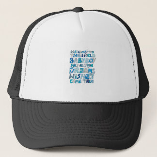 Welcome To The World Baby Boy Trucker Hat