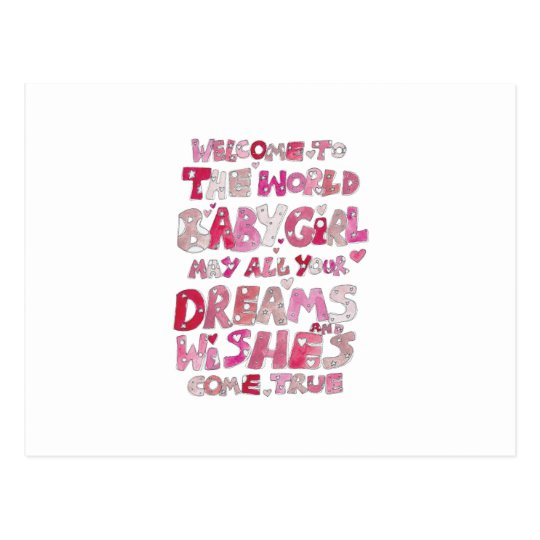 welcome to the world baby girl postcard zazzle com