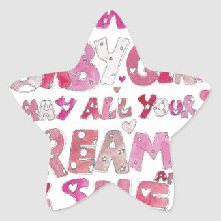 Welcome To The World Baby Girl Star Sticker