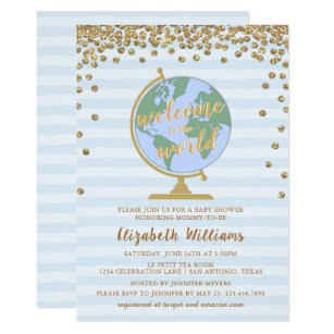 Welcome baby invitations zazzle welcome to the world globe baby shower invitation filmwisefo