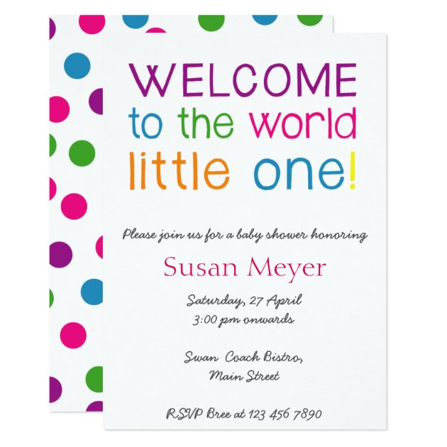 Welcome to the world little one baby shower invite | Zazzle