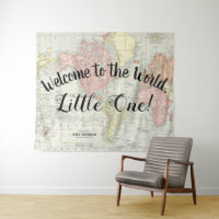 Welcome to the World Map Baby Shower Backdrop