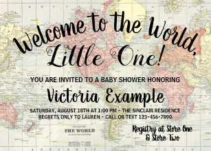 Welcome baby invitations zazzle welcome to the world map baby shower invitations filmwisefo