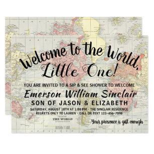 Welcome To The World Sip And See Baby Shower Invitation