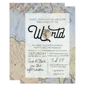Welcome baby invitations announcements zazzle welcome to the world travel baby shower invitation filmwisefo