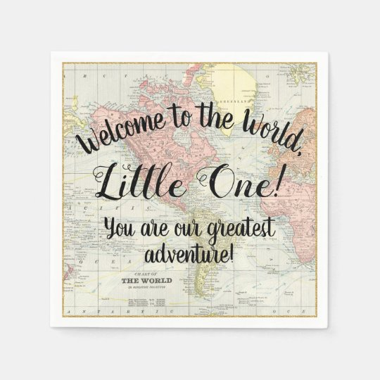Welcome to the world world map baby shower napkins zazzle welcome to the world world map baby shower napkins gumiabroncs Choice Image