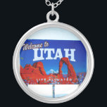 """Welcome to Utah Sign Silver Plated Necklace<br><div class=""""desc"""">Welcome To Utah Sign Arches  Life Elevated.  Perfect for anyone who is from or has visited Utah and wants a little memorabilia.</div>"""