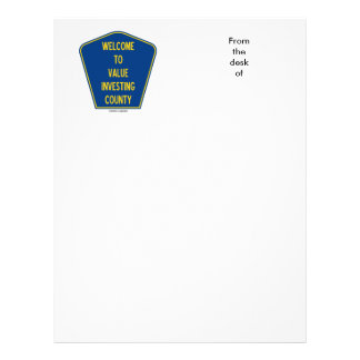 Welcome To Value Investing County (Sign) Letterhead