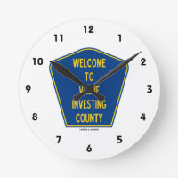 Welcome To Value Investing County (Sign) Round Wall Clock