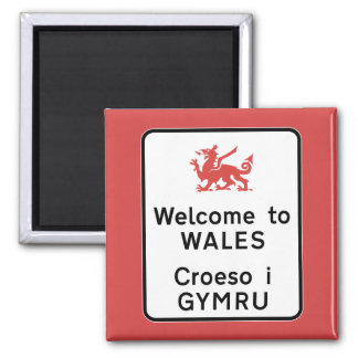 Welcome to Wales Sign, UK 2 Inch Square Magnet