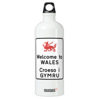 Welcome to Wales Sign, UK Aluminum Water Bottle