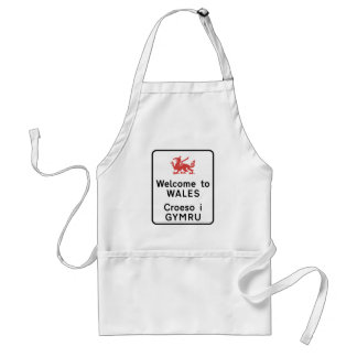 Welcome to Wales Sign, UK Adult Apron