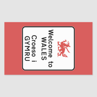 Welcome to Wales Sign, UK Rectangular Sticker