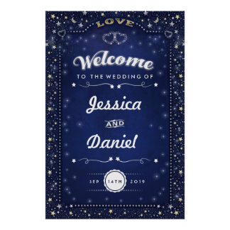 Welcome to Wedding 24x36 Navy Blue Hearts & Stars Poster