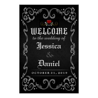 Welcome to Wedding Halloween 24x36 Matching Poster