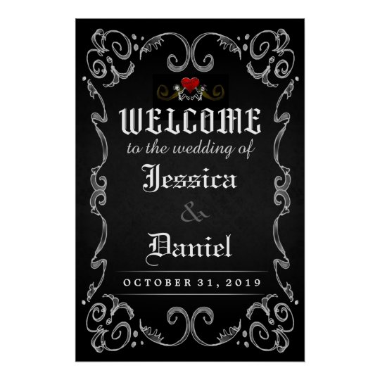 welcome to wedding halloween 24x36 matching poster. Black Bedroom Furniture Sets. Home Design Ideas