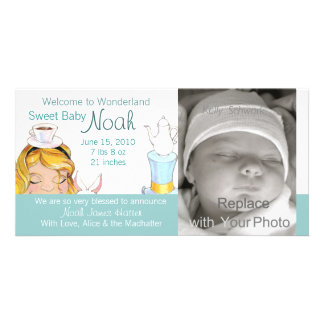 Welcome to Wonderland Birth Announcement Customized Photo Card