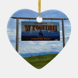 Welcome to Wyoming Ceramic Ornament