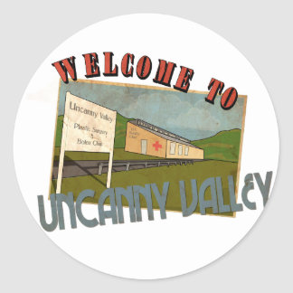 Welcome ton uncanny valley classic round sticker