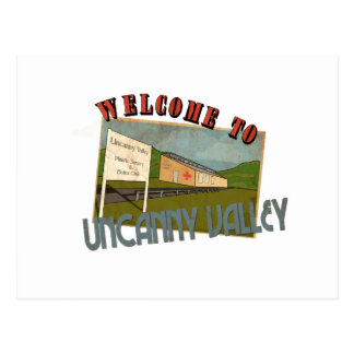 Welcome ton uncanny valley postcard