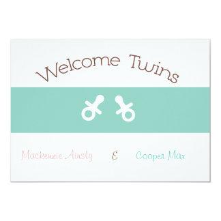 Welcome Twin Boy & Girl Invitations