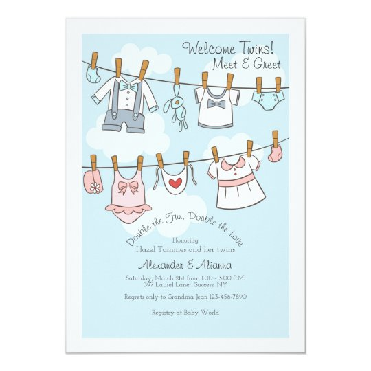 Welcome twins meet and greet invitation zazzle welcome twins meet and greet invitation m4hsunfo