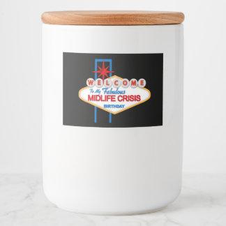Welcome Vegas Midlife Crisis favor jar label