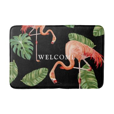 Beach Themed Welcome Watercolor Flamingo w Tropical Leaves Bathroom Mat